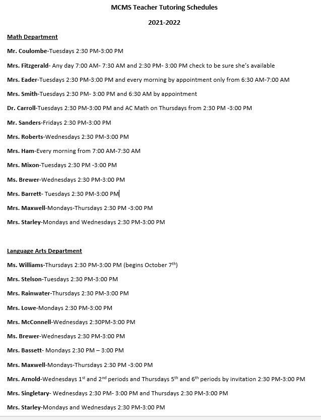 MCMS tutoring schedule