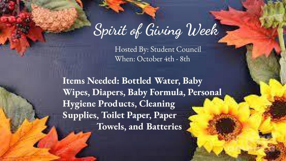 Spirit of Giving Week flyer