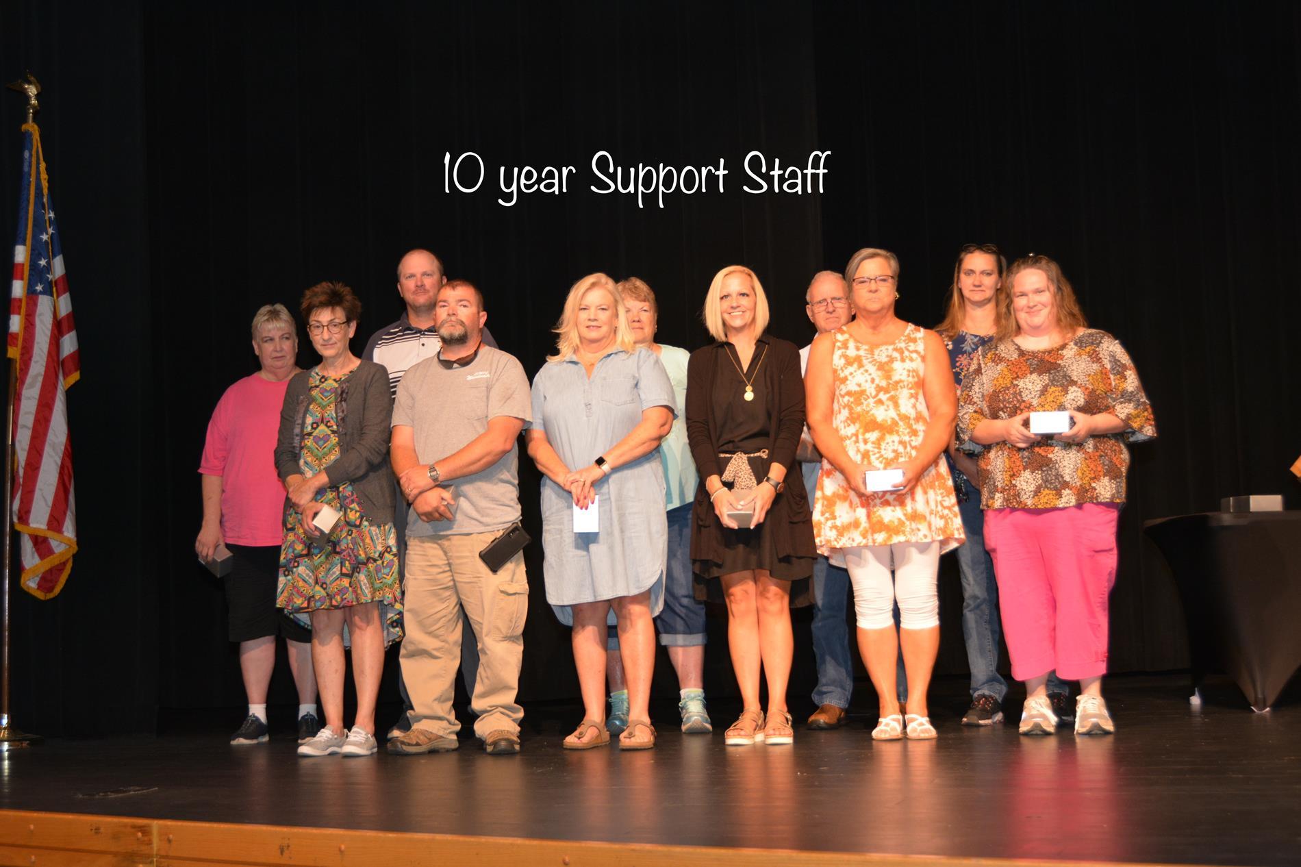 10 year Support staff