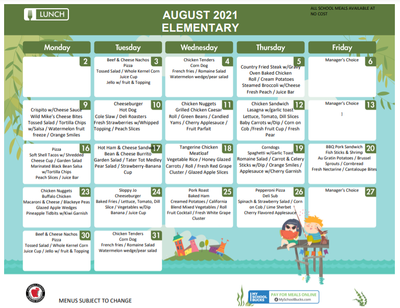 Lunch Menu for August