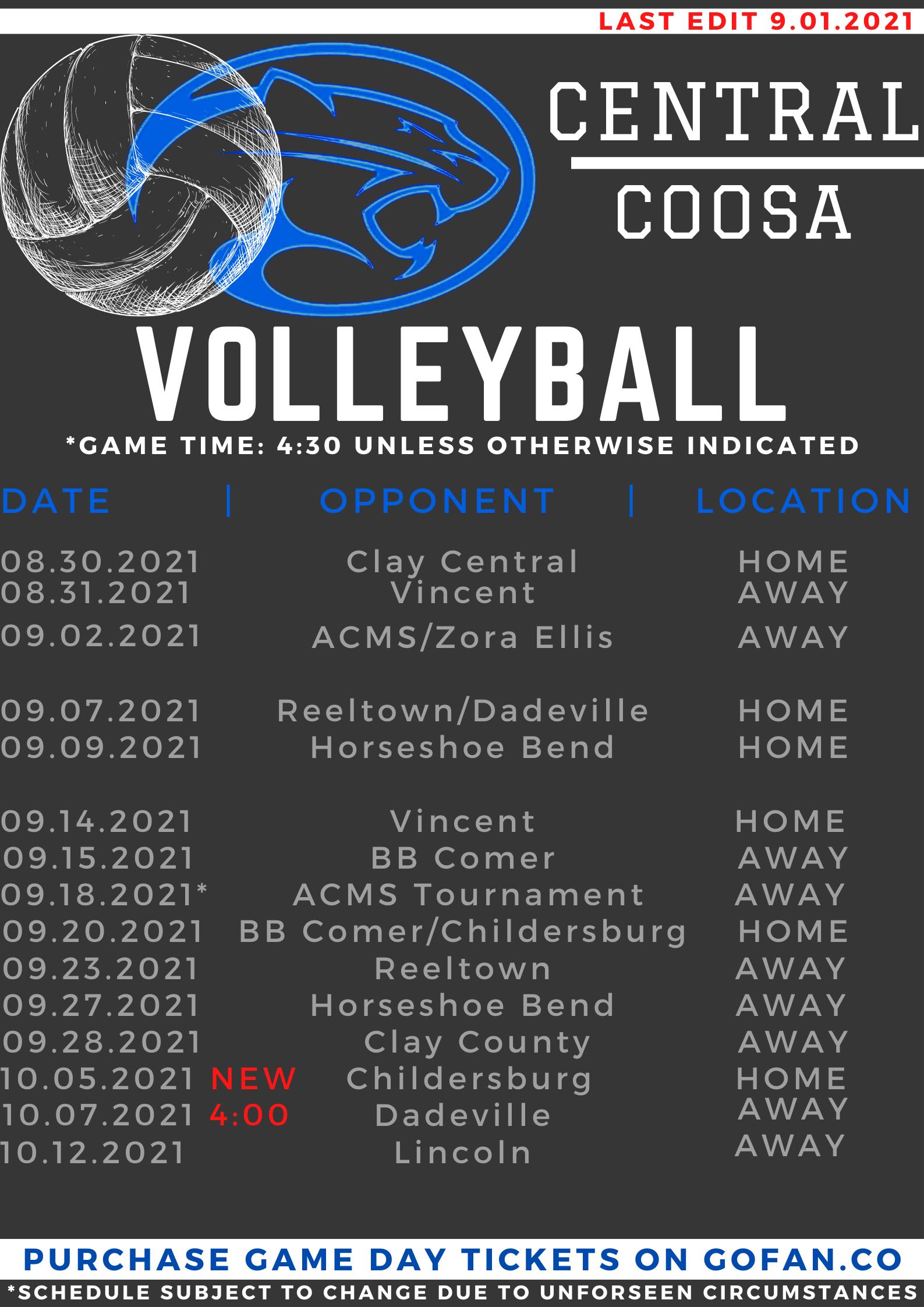 2021 Volleyball Schedule