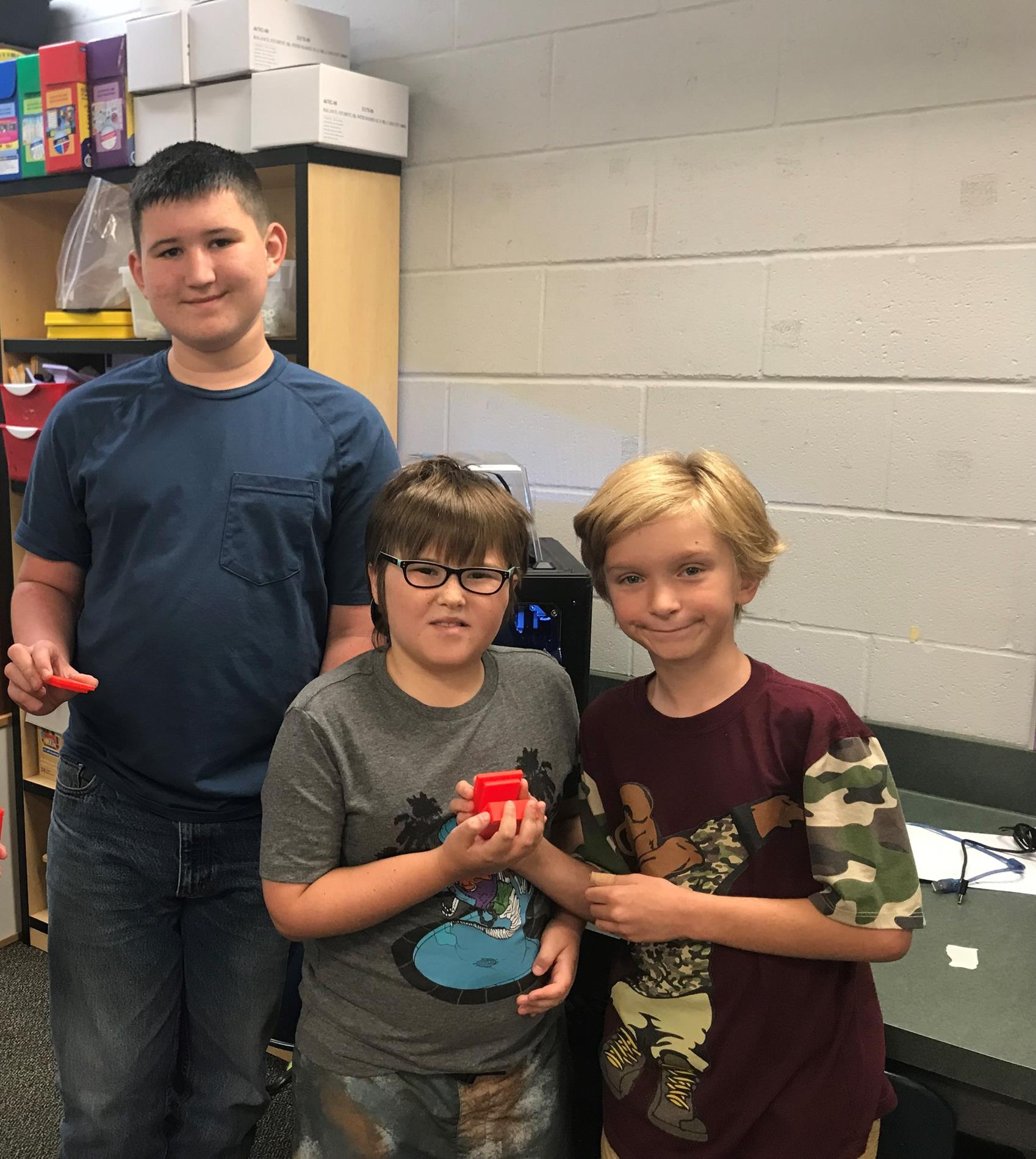 Students with created 3D objects