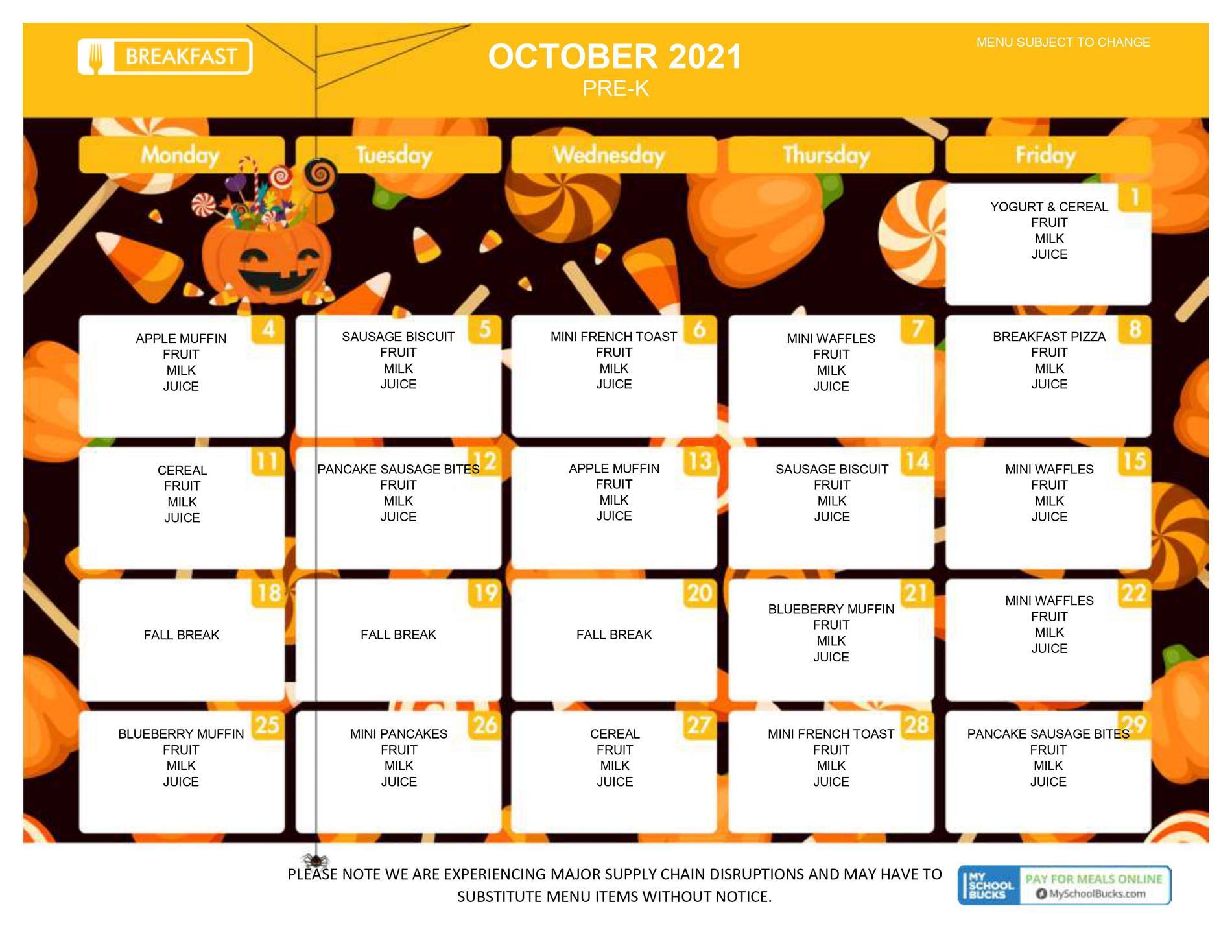 Pre-K Menu October