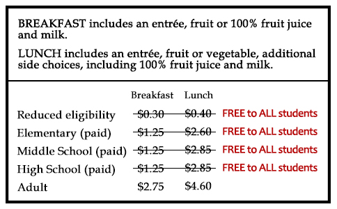 meal prices for the 21-22 school year