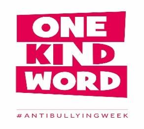 """One Kind Word"" in red   anti Bullying Week"