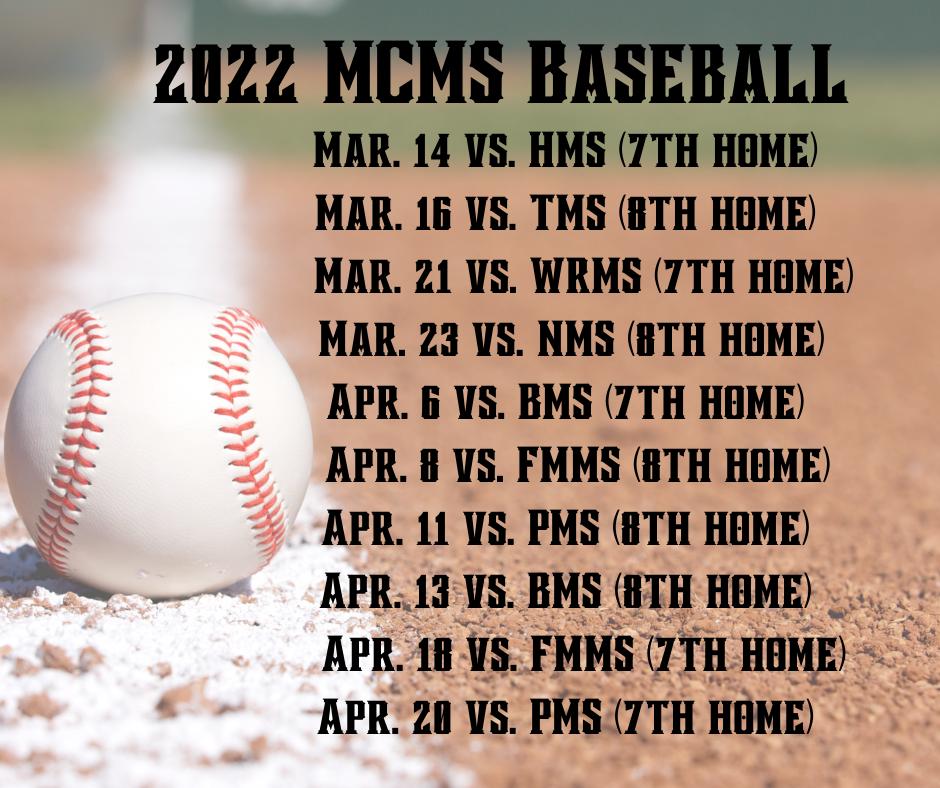 2022 Baseball Schedule