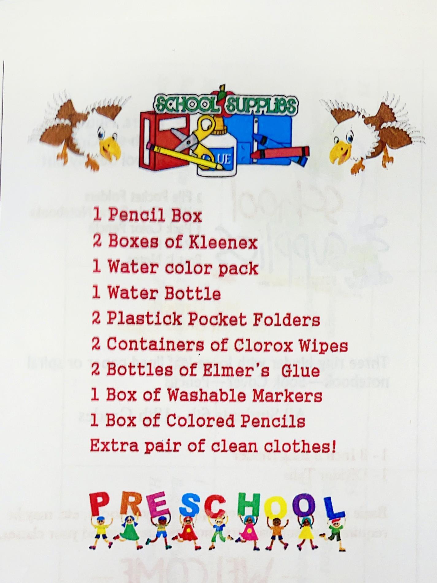 Pre School Supply List