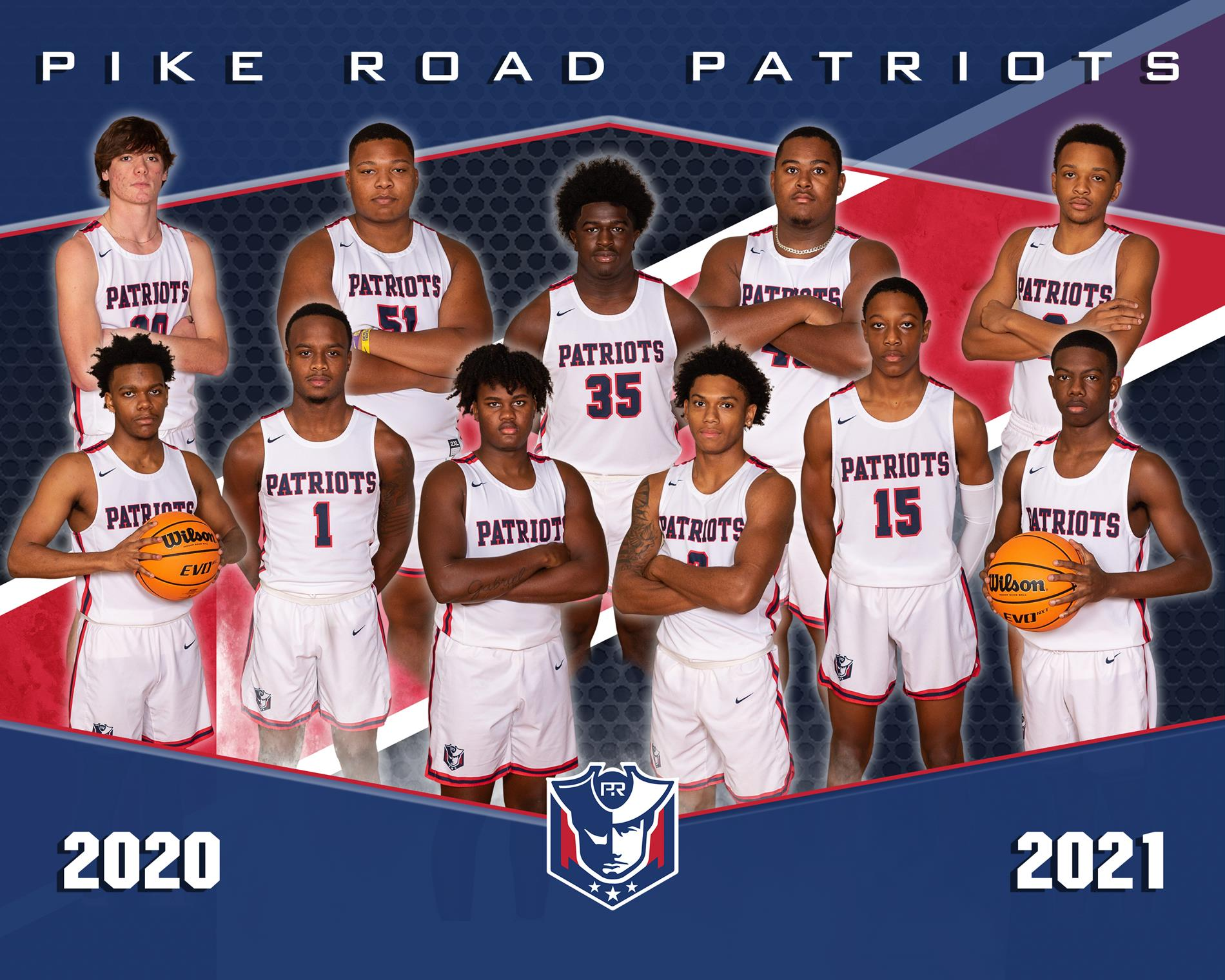 Basketball Boys Varsity Team standing on Court