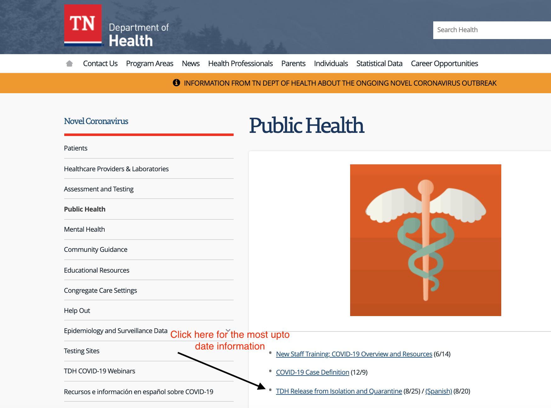 TN Health Department Isolation and Quarantine Cases