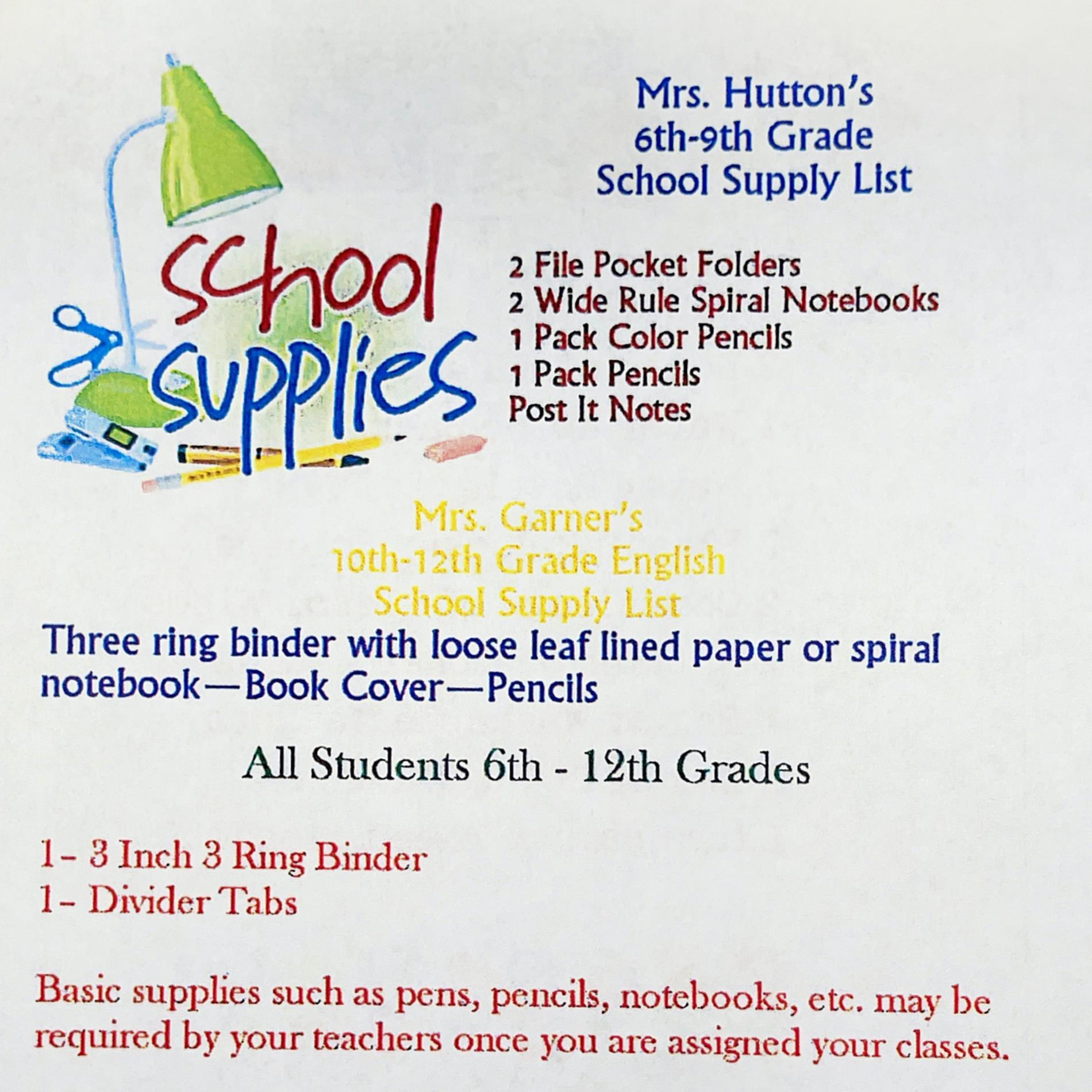 6th-9th Grade List