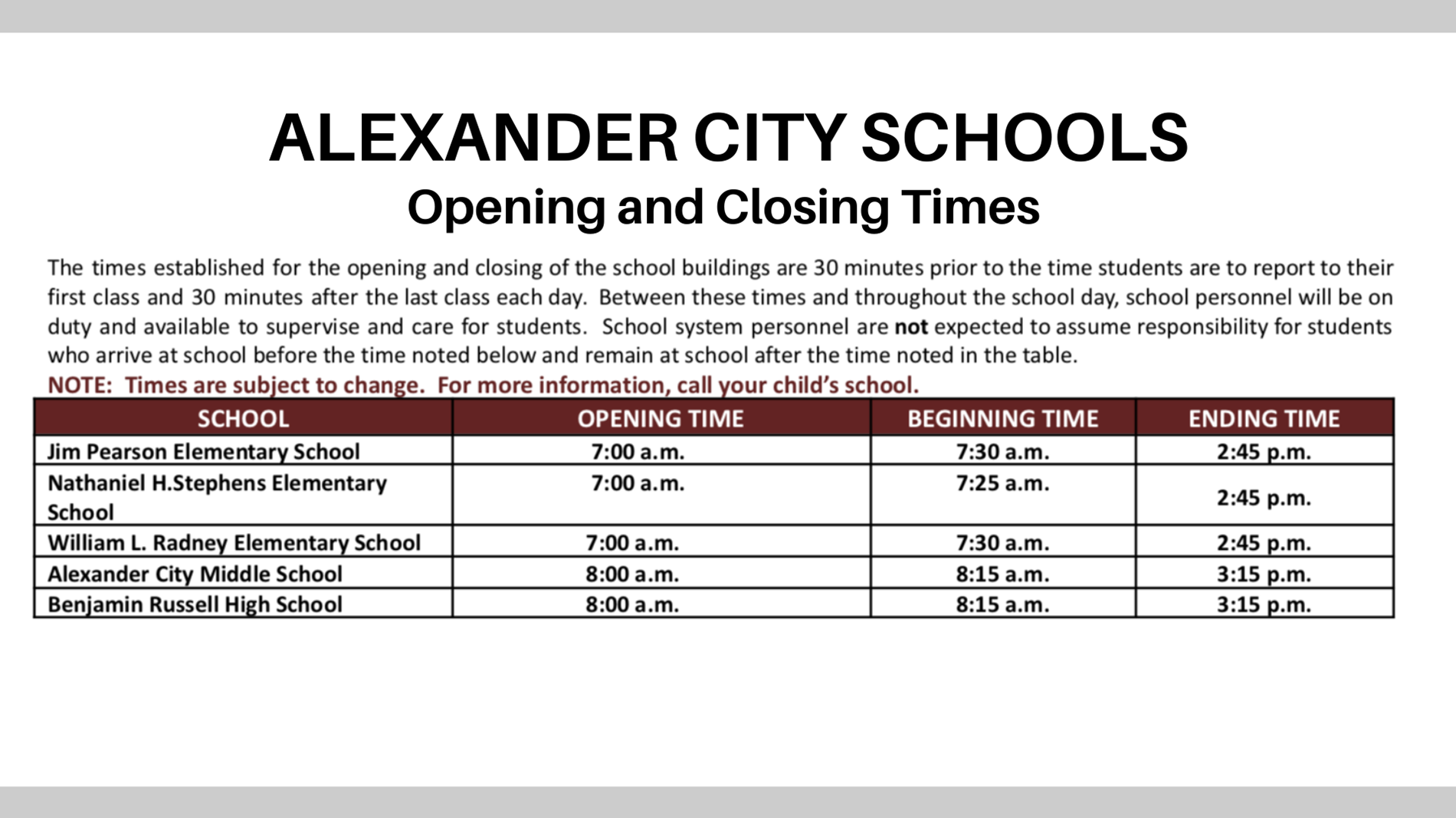 School Opening and Closing Times
