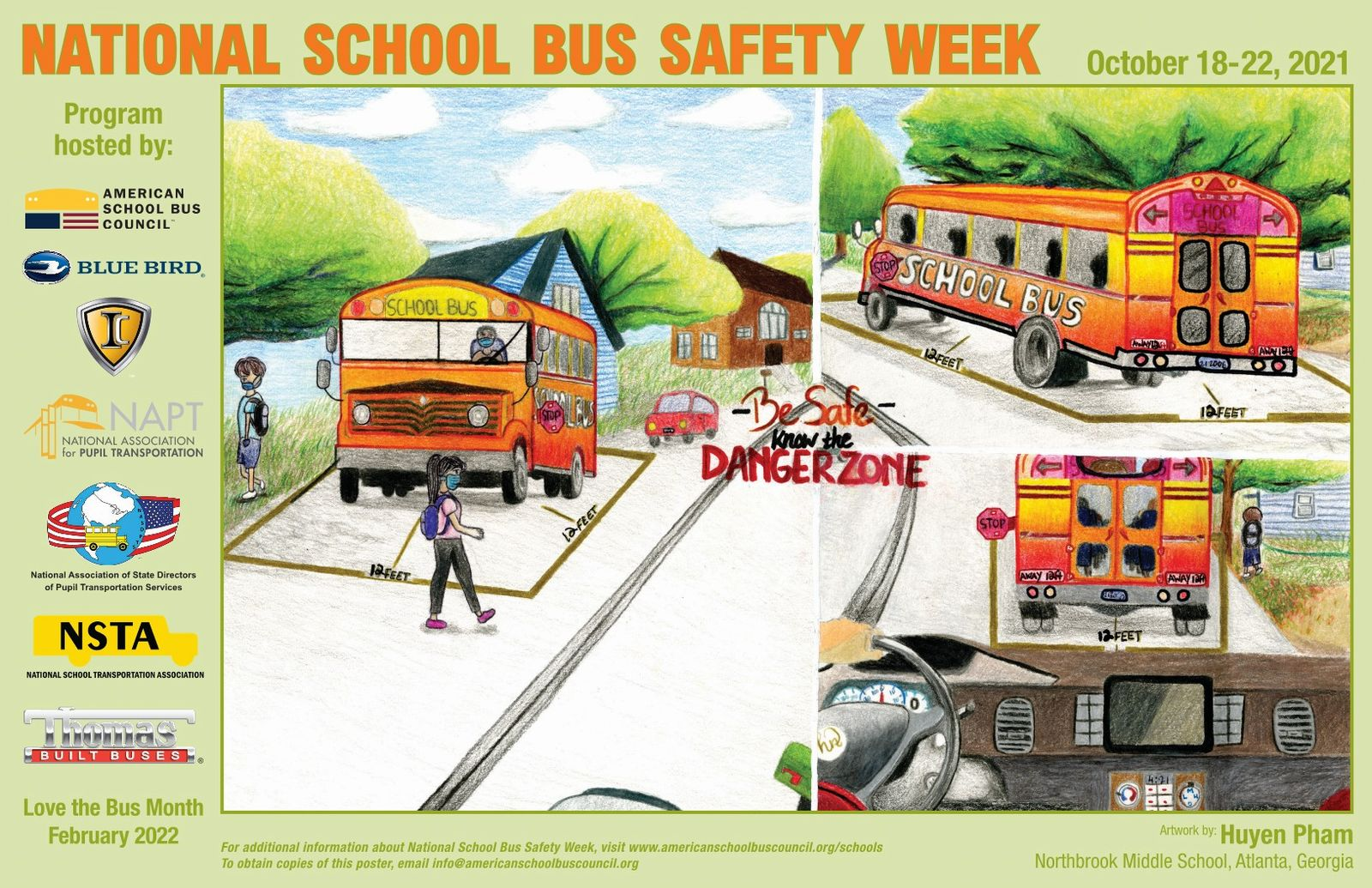 School Bus Safety Week October 18-22 Know the Danger Zone Around the Bus