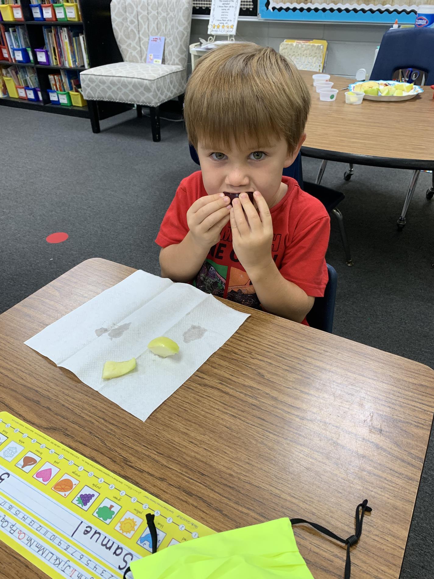 Samuel Enjoying His Apple