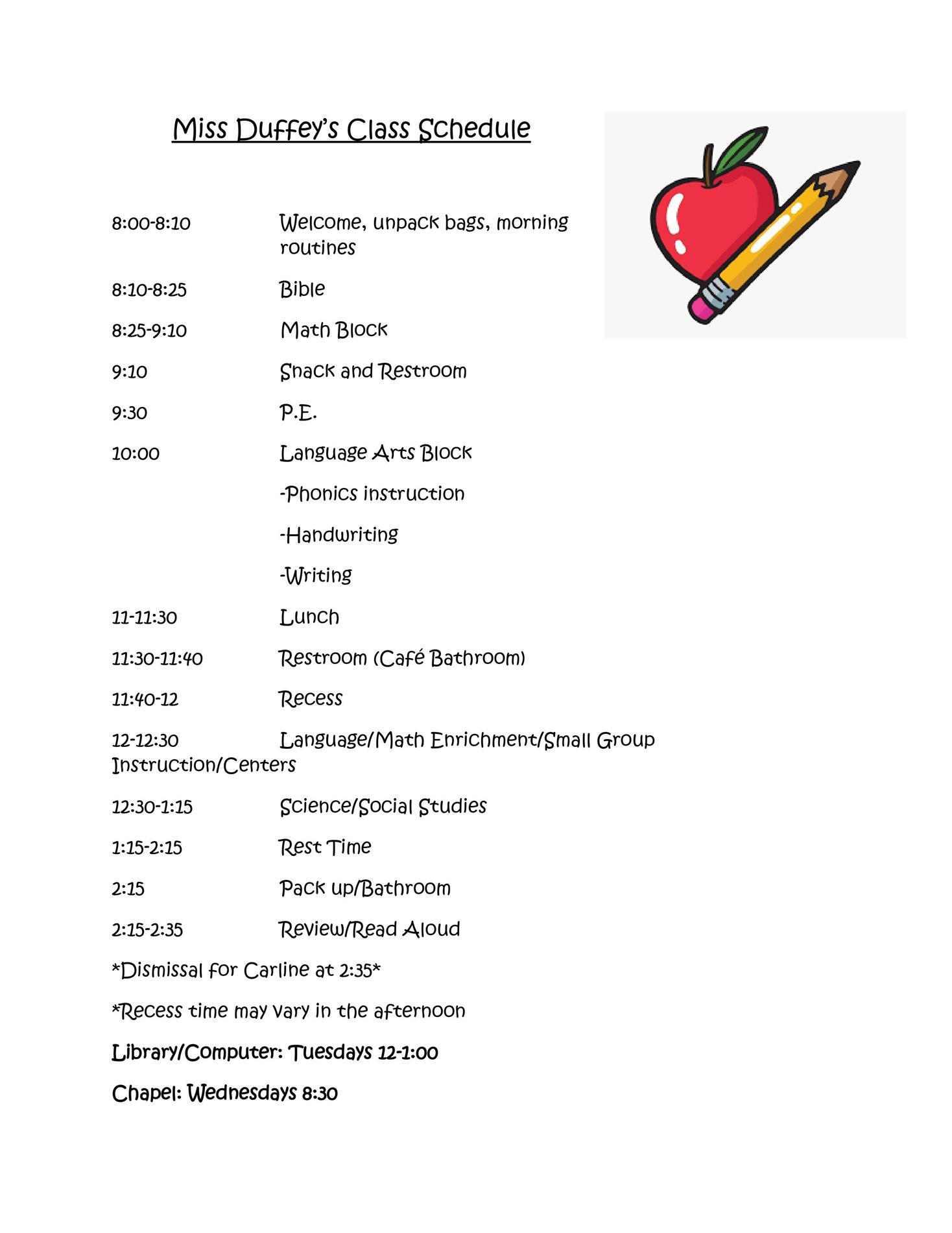 Miss Duffey's class schedule