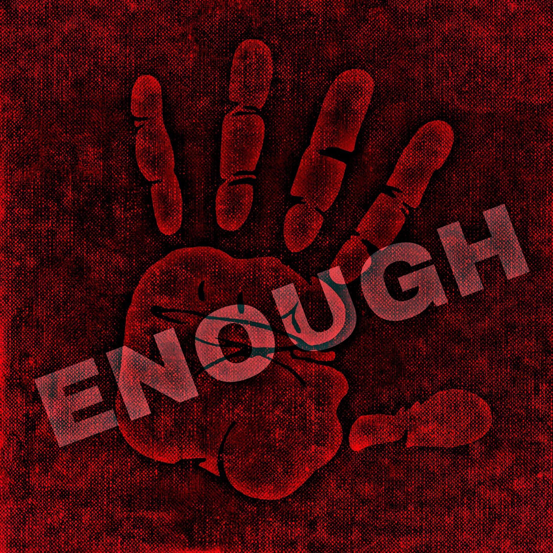 hand saying enough