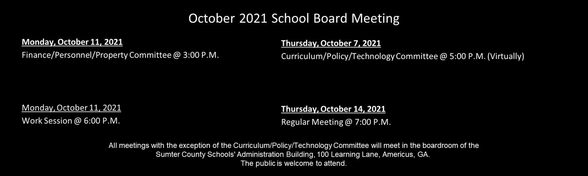 SCS October Board Meeting