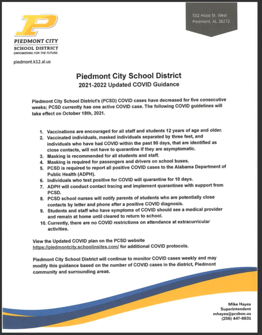 UPDATED COVID GUIDANCE
