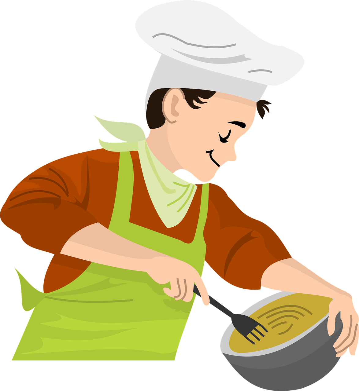 Cook making food