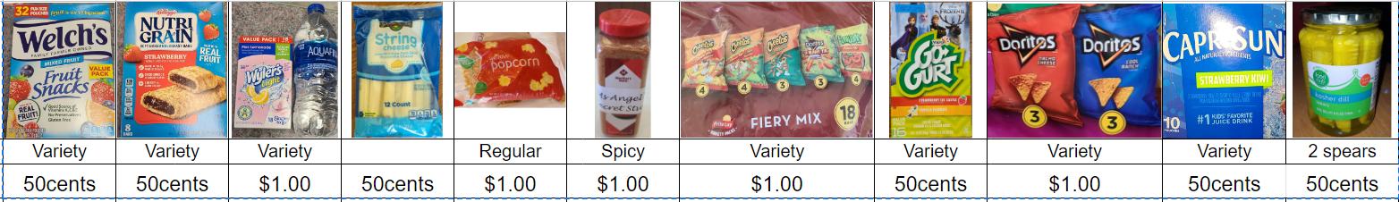 Snack shack items