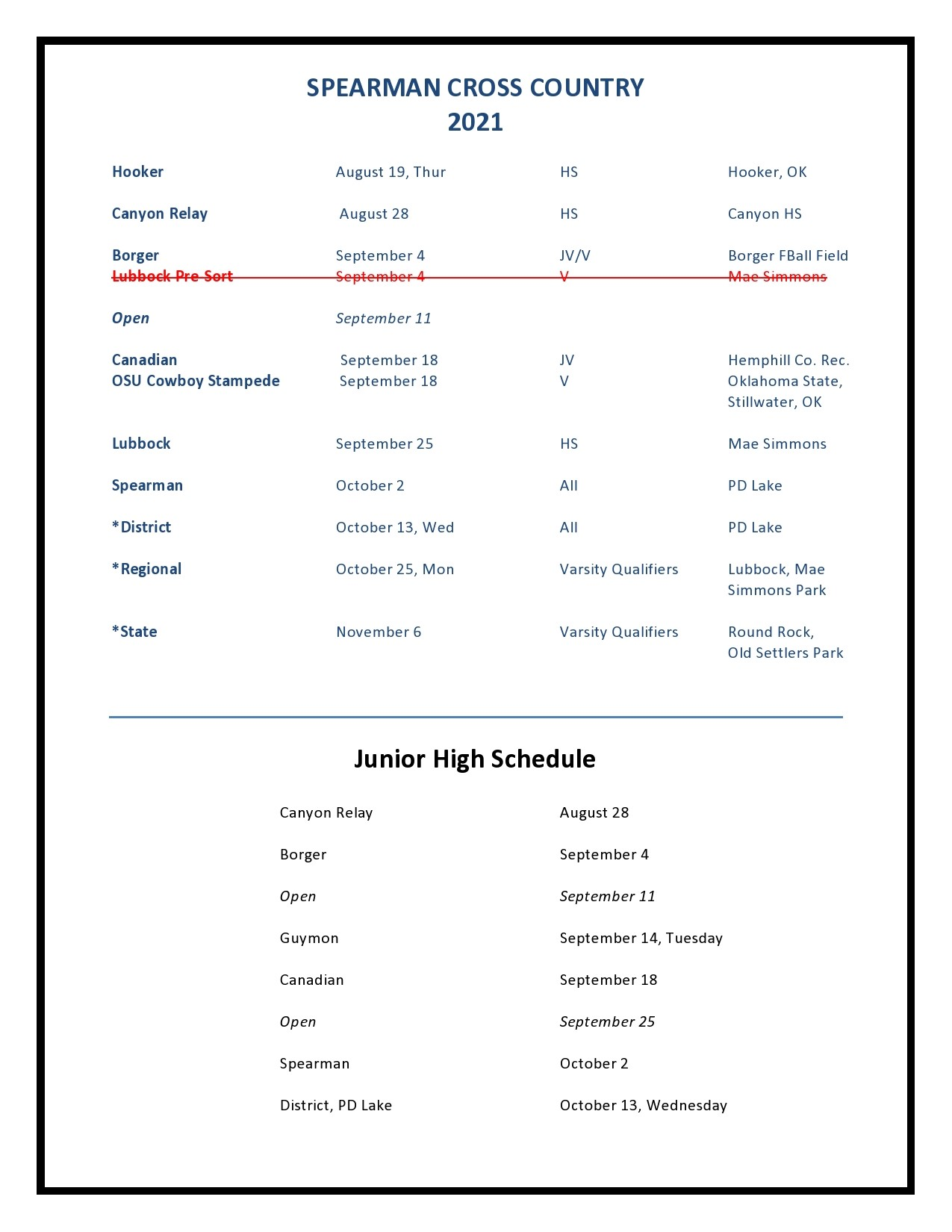 2021 XC schedule