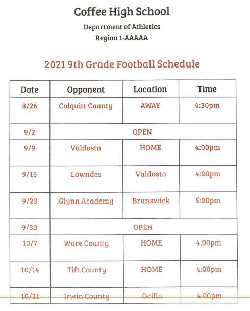 2021 GWCFC 9th Grade Football Schedule