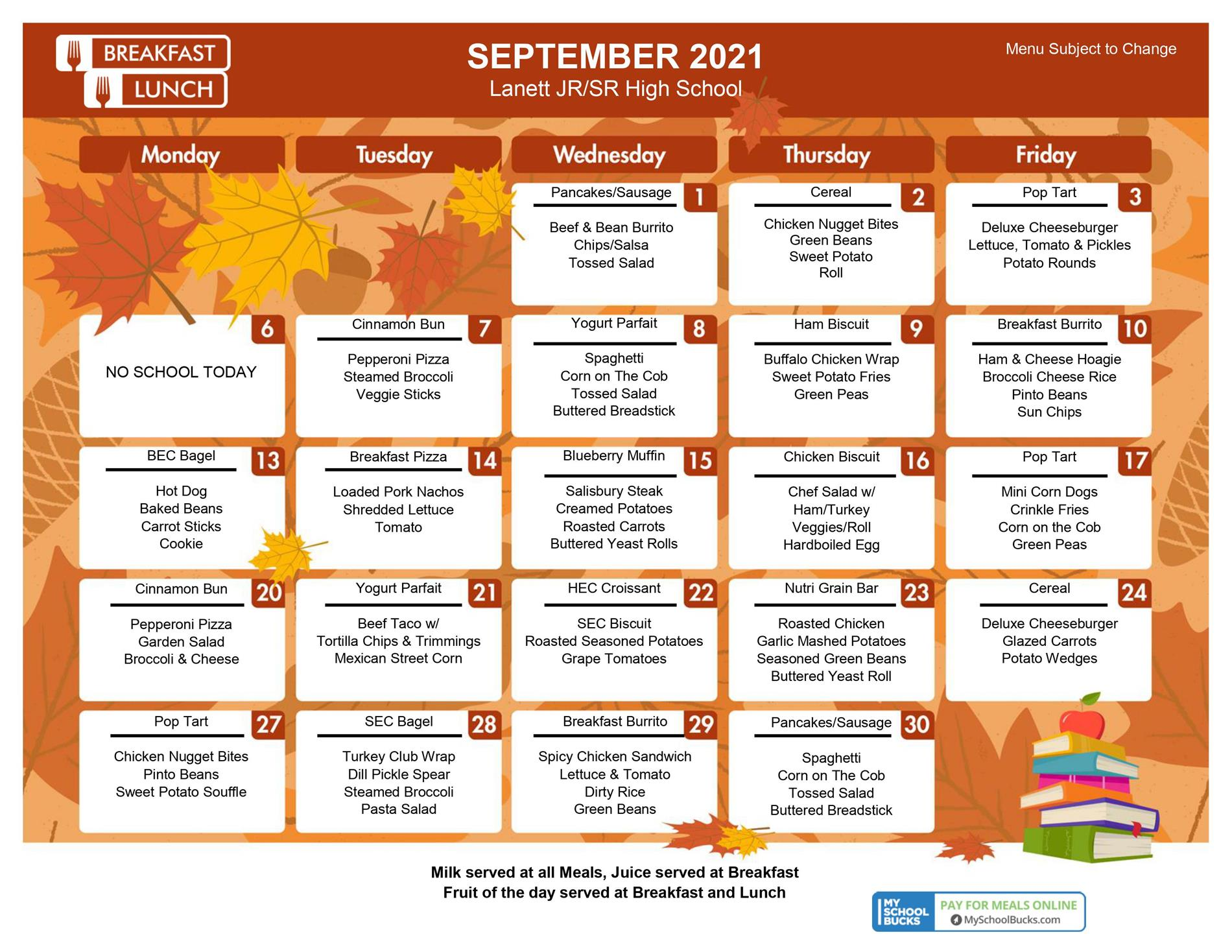 LHS Sept 21 menu