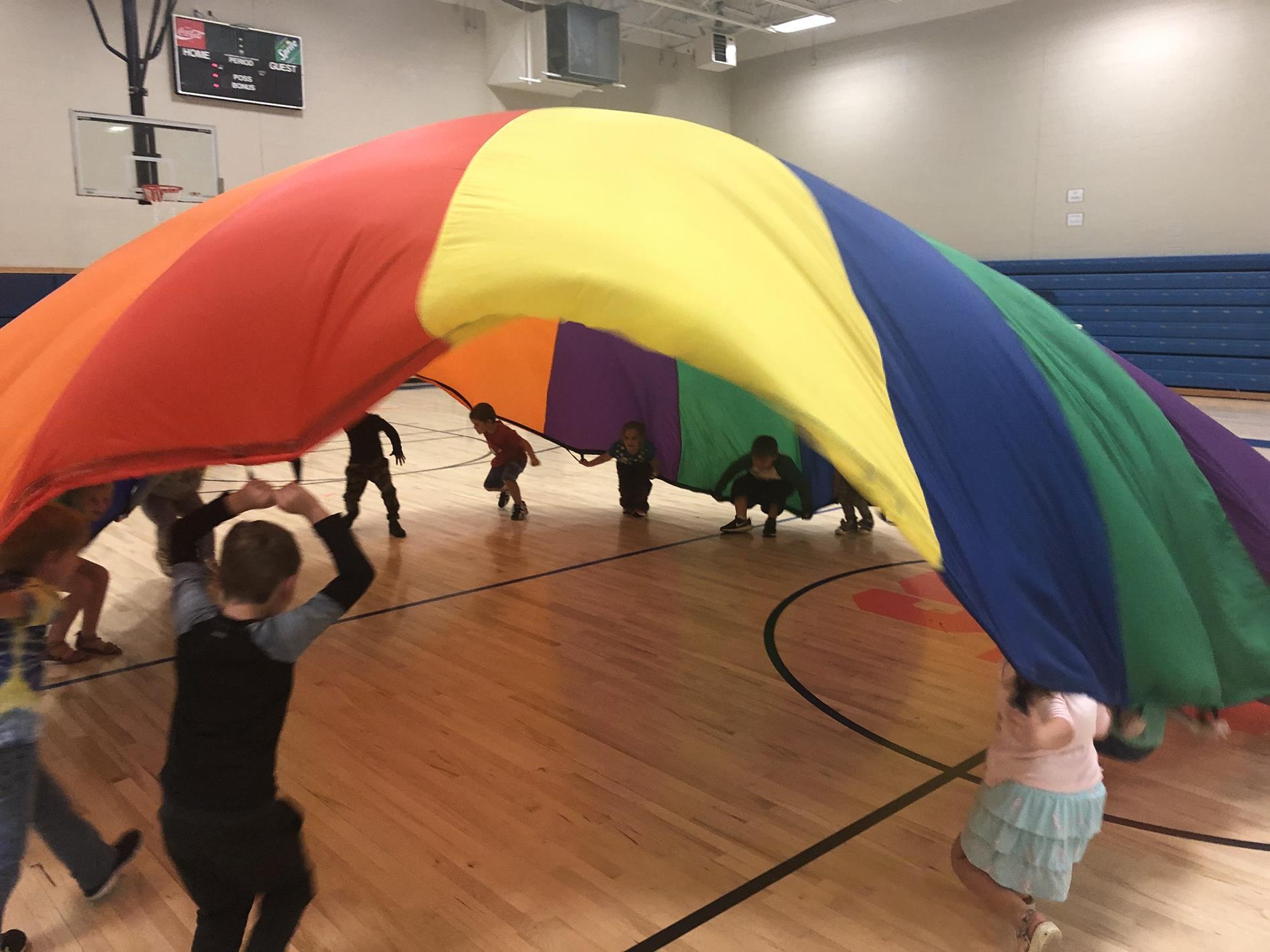 Parachute fun in the gym
