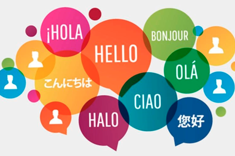 """colored speech bubbles with different languages saying """"hi"""""""