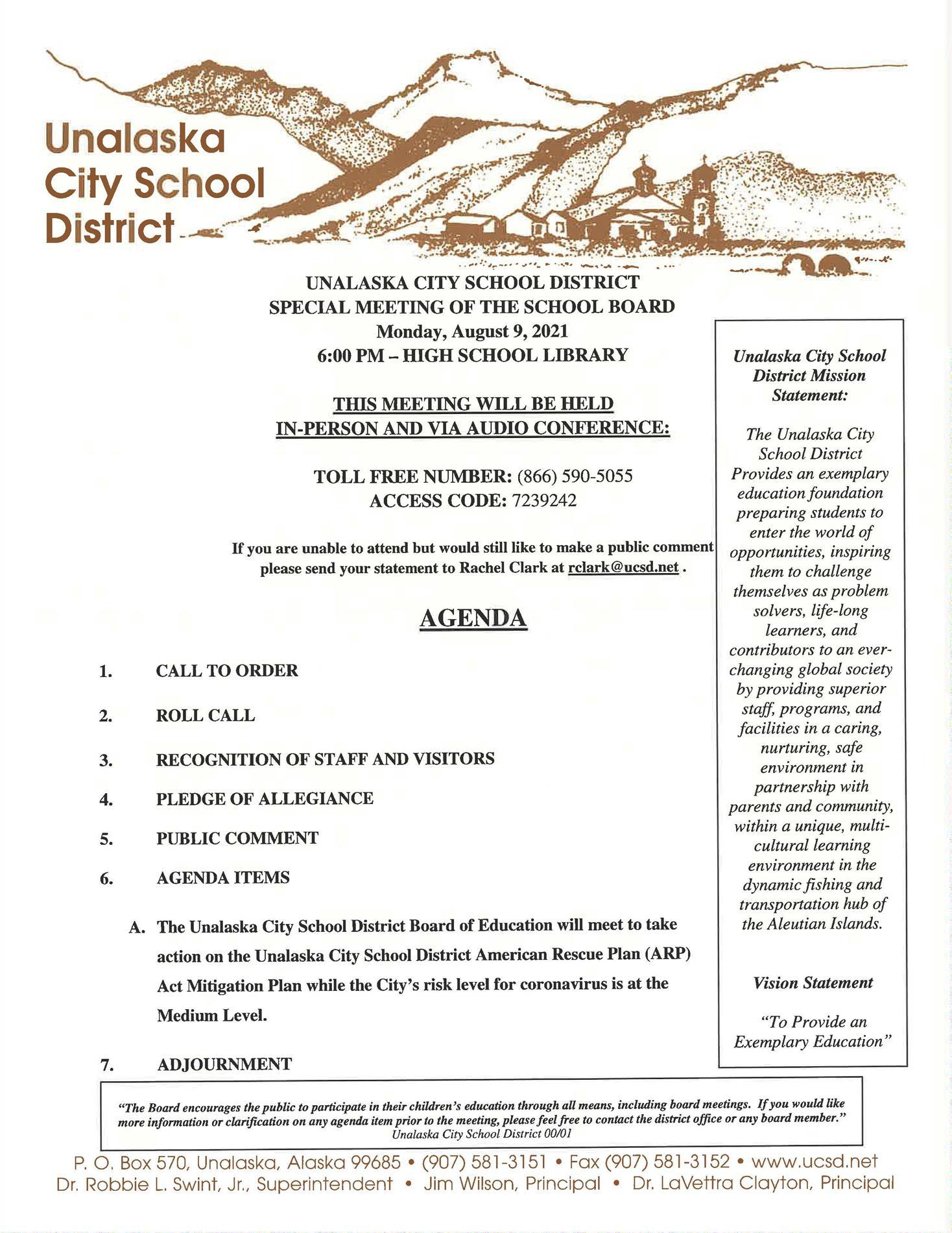 08/19/2021 Special Board Meeting Agenda