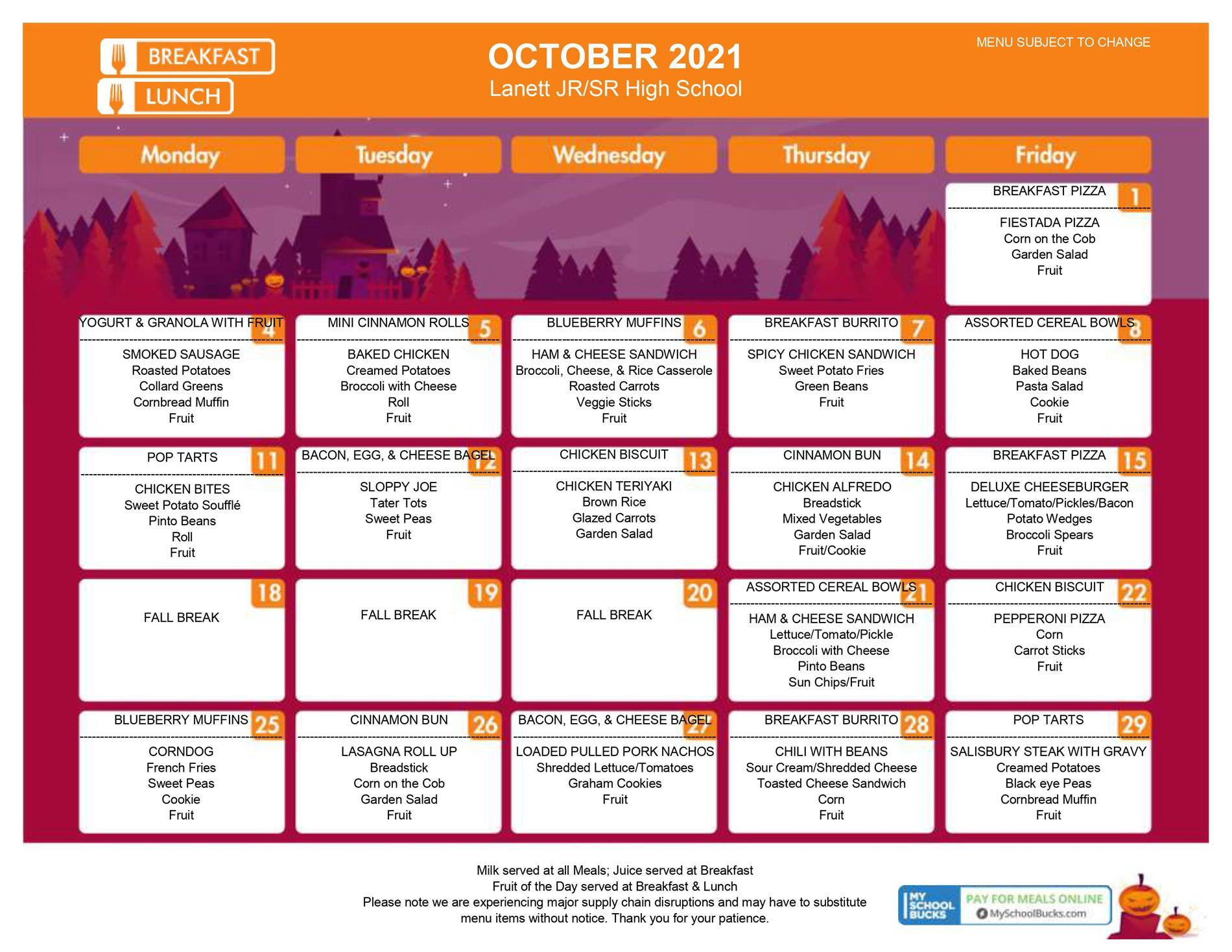 Oct 21 menu