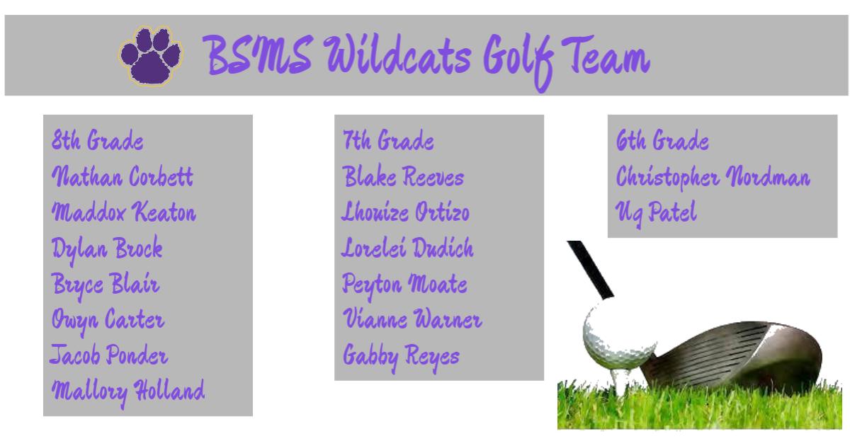 BSMS 2021 Golf Team