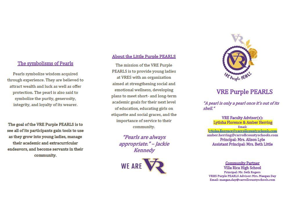 VRE Purple Pearls Brochure Page 1