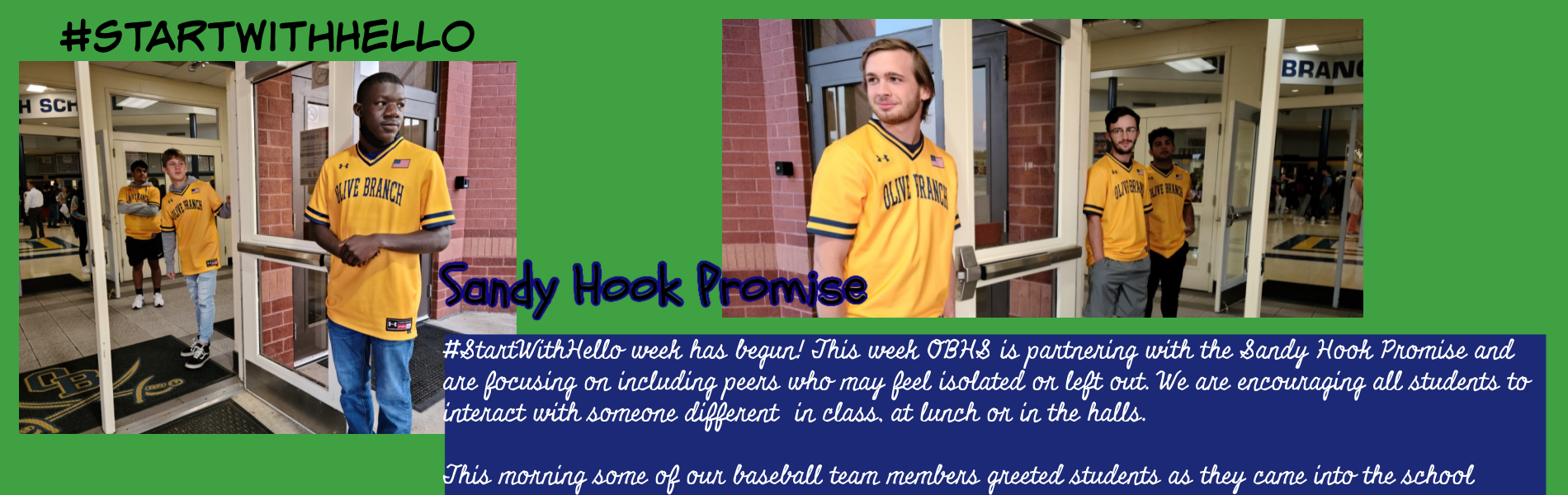 Baseball team welcomes students to school today as part of the Sandy Hook Promise