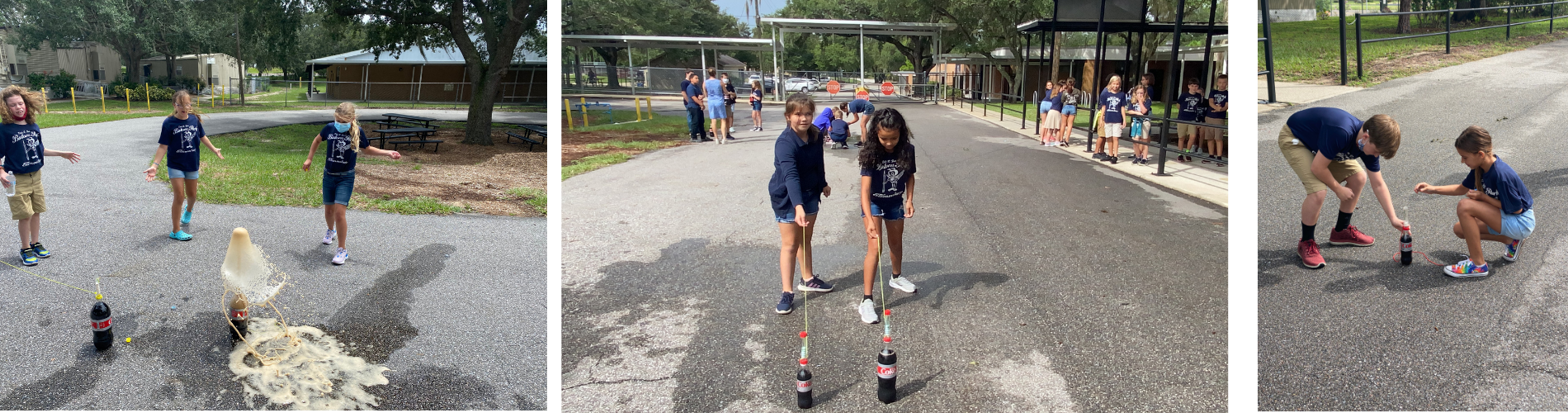 Students experimenting with Mentos and soda