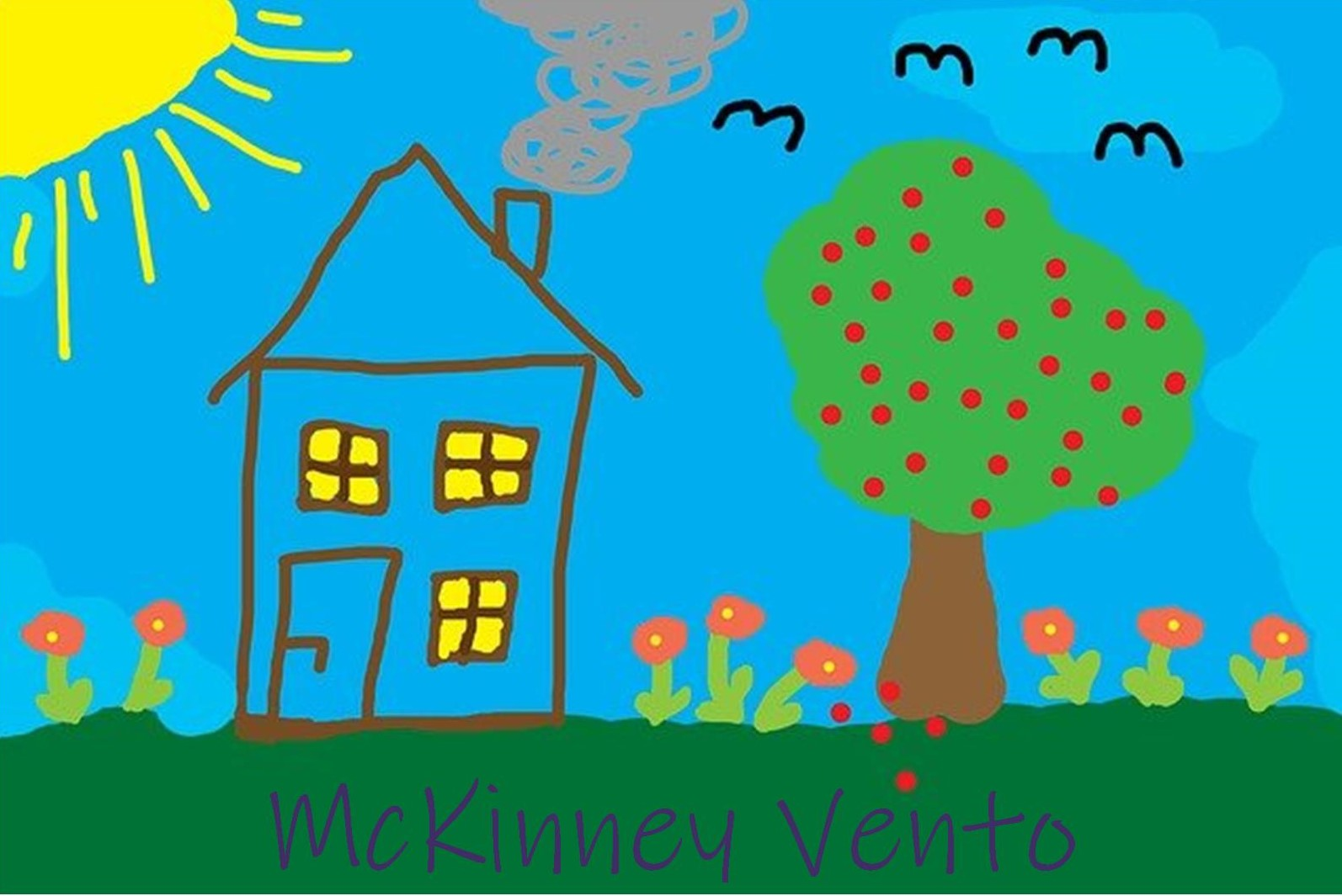 Childlike Drawing of a House In a Field with Trees, Flowers, Birds, and a Sun