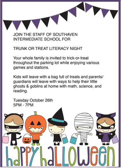 Invitation to SIS Trunk or Treat Oct. 26 5pm-7pm