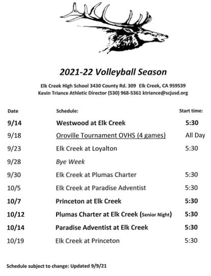Volleyball Calendar