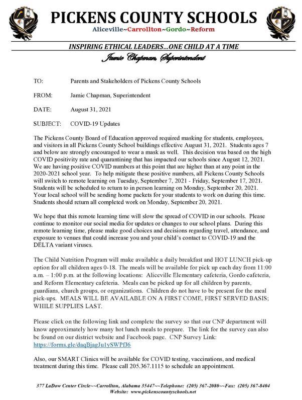 superintendent message