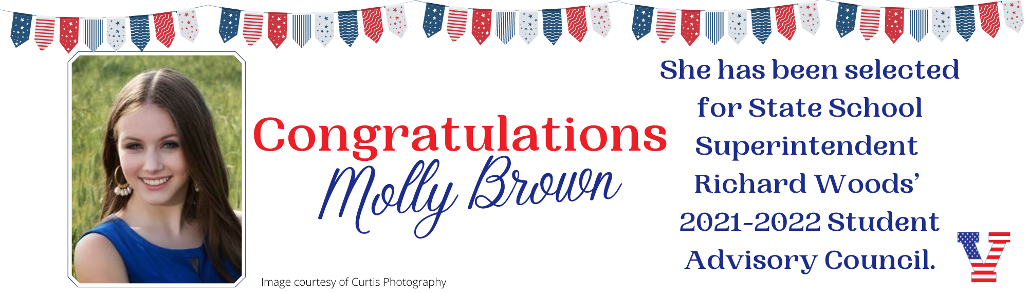 Congrats Molly Brown - selected for State Student Superintendent Advisory Council