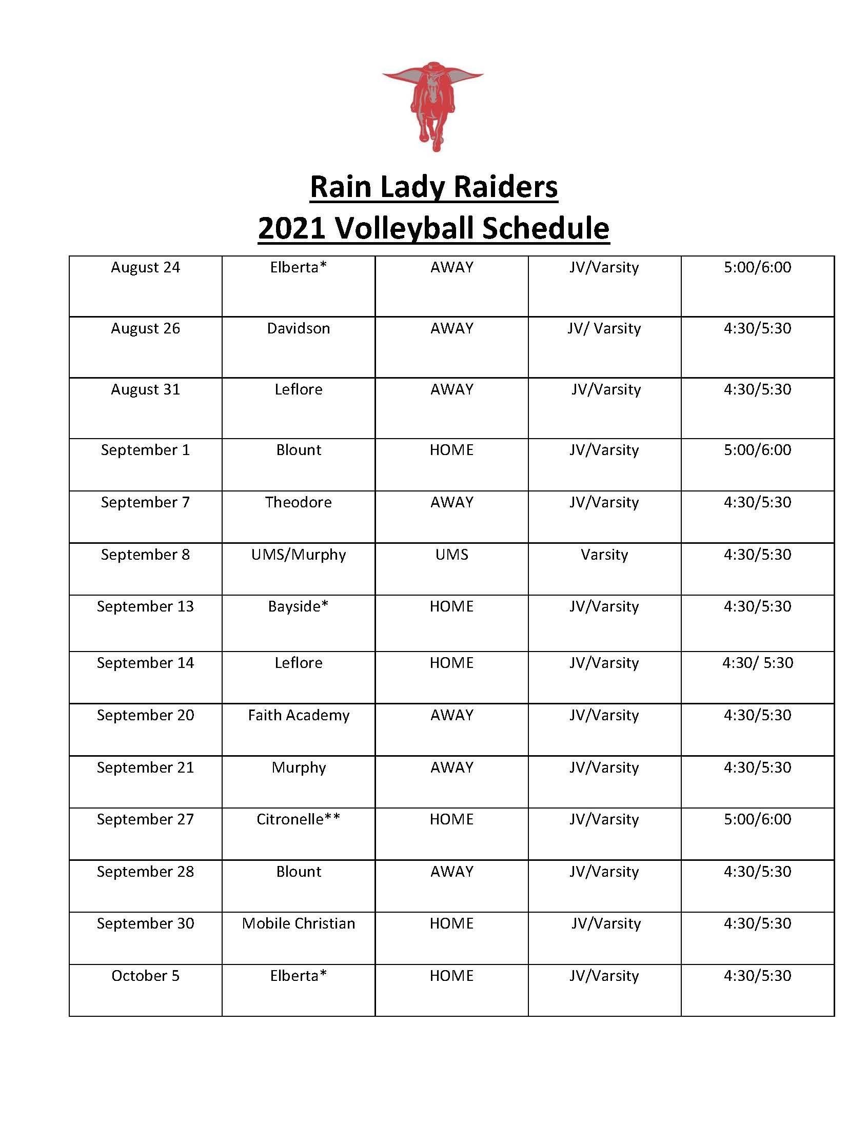 volleyball schedule 2021