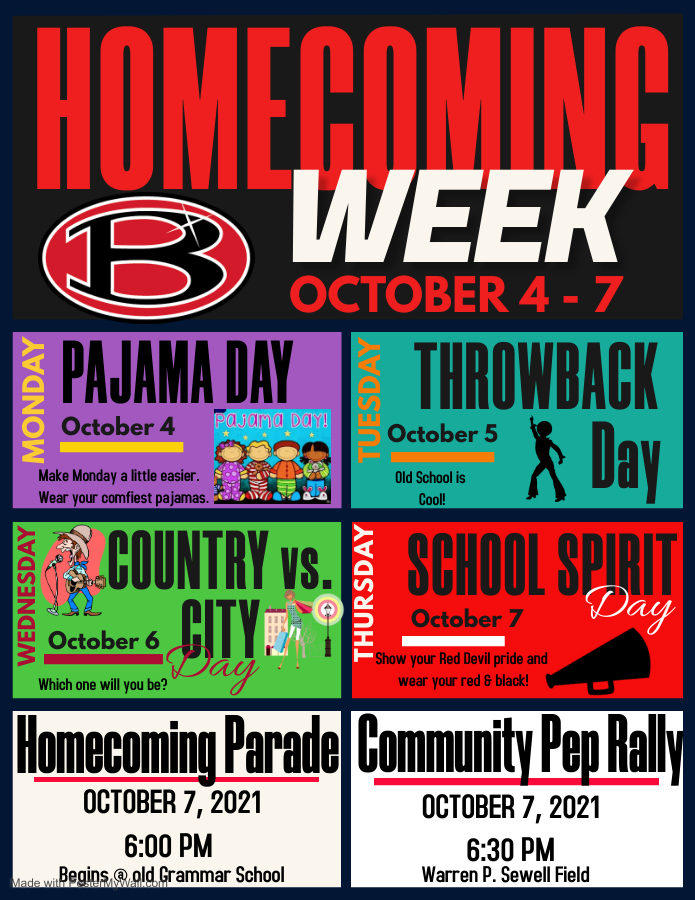 Homecoming Week Flyer for Dress Up Days and Parade information