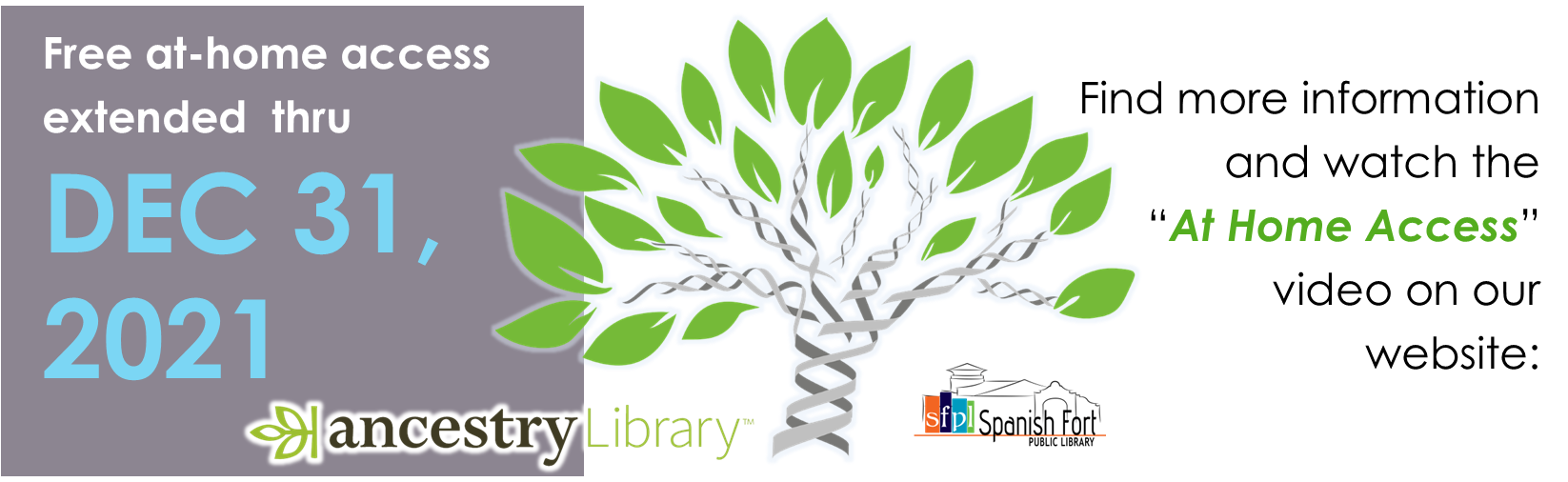 Ancestry Library Edition at home access will be provided to Alabama residents thru December 31, 2021 thanks to the generosity of ProQuest and the Alabama Public Library Service.
