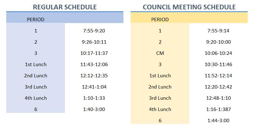 bell schedule