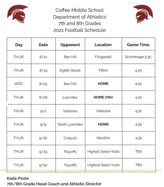 2021 CMS 7th & 8th Grade Football Schedule