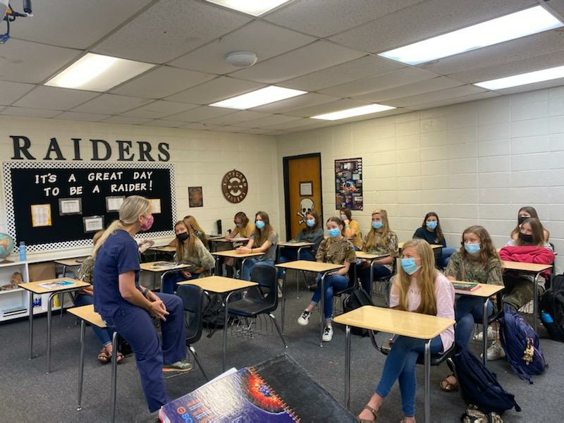 Dr. Fennessey Visits Girls' Health Class