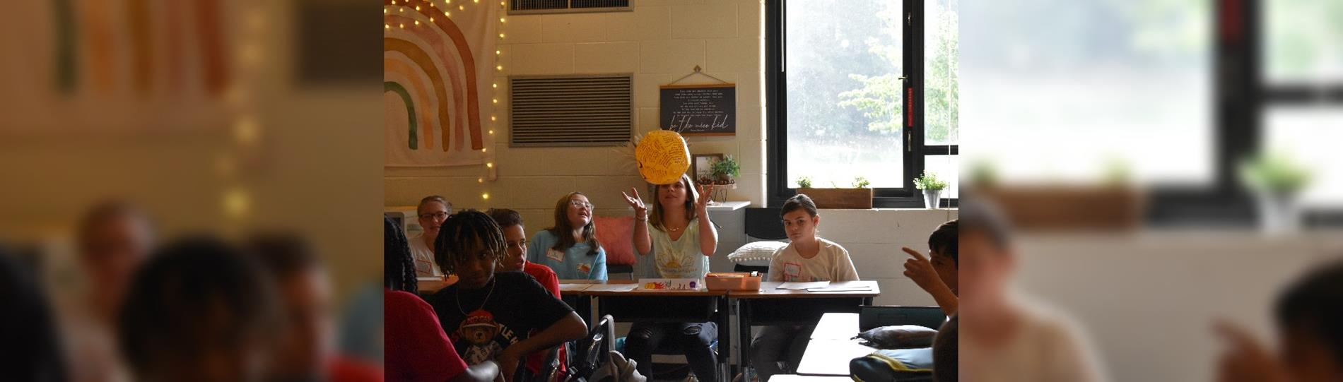 7th graders play a game on the 1st day of school