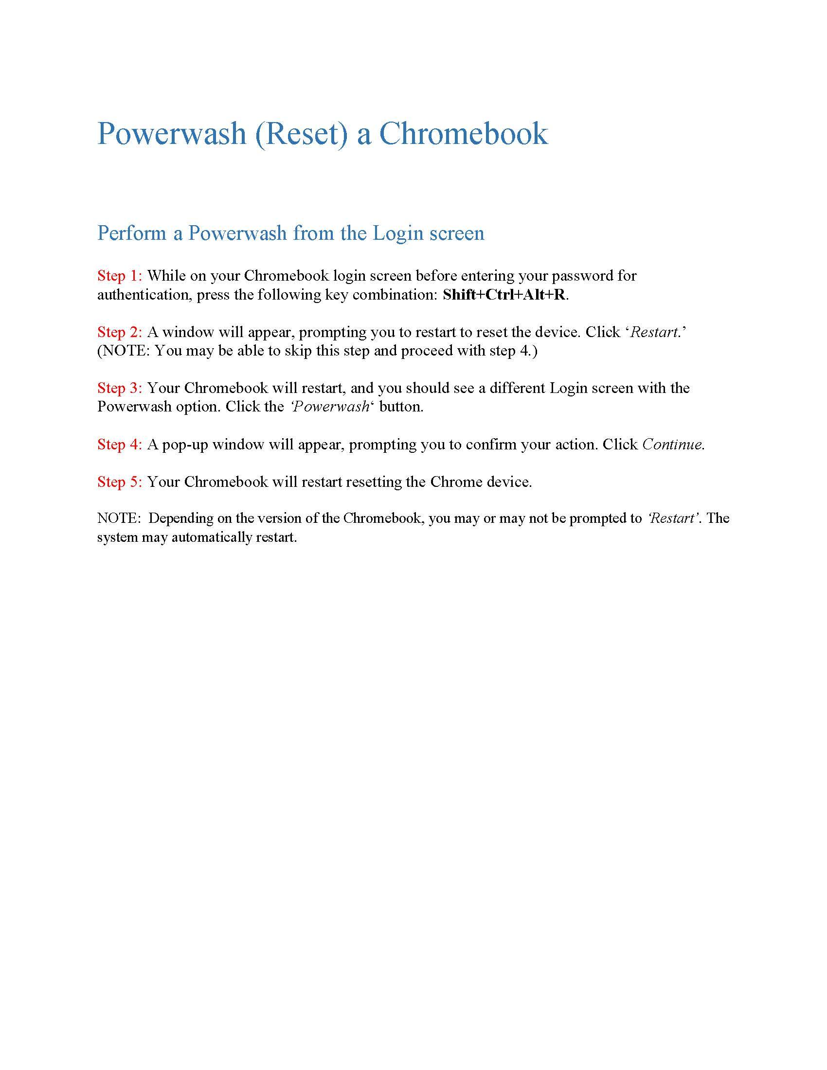 powerwash reset chromebook