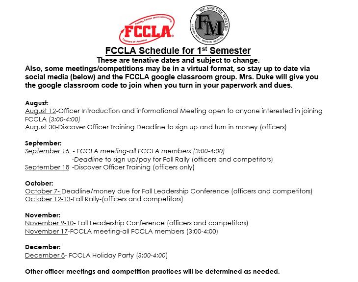 FCCLA Schedule 2021