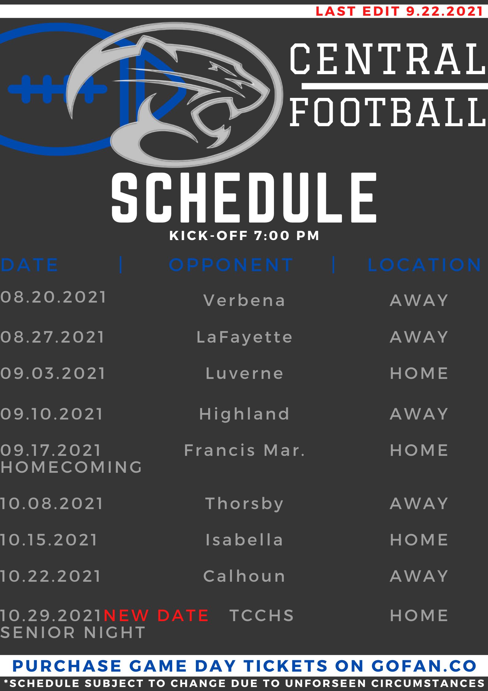 Updated Football Schedule