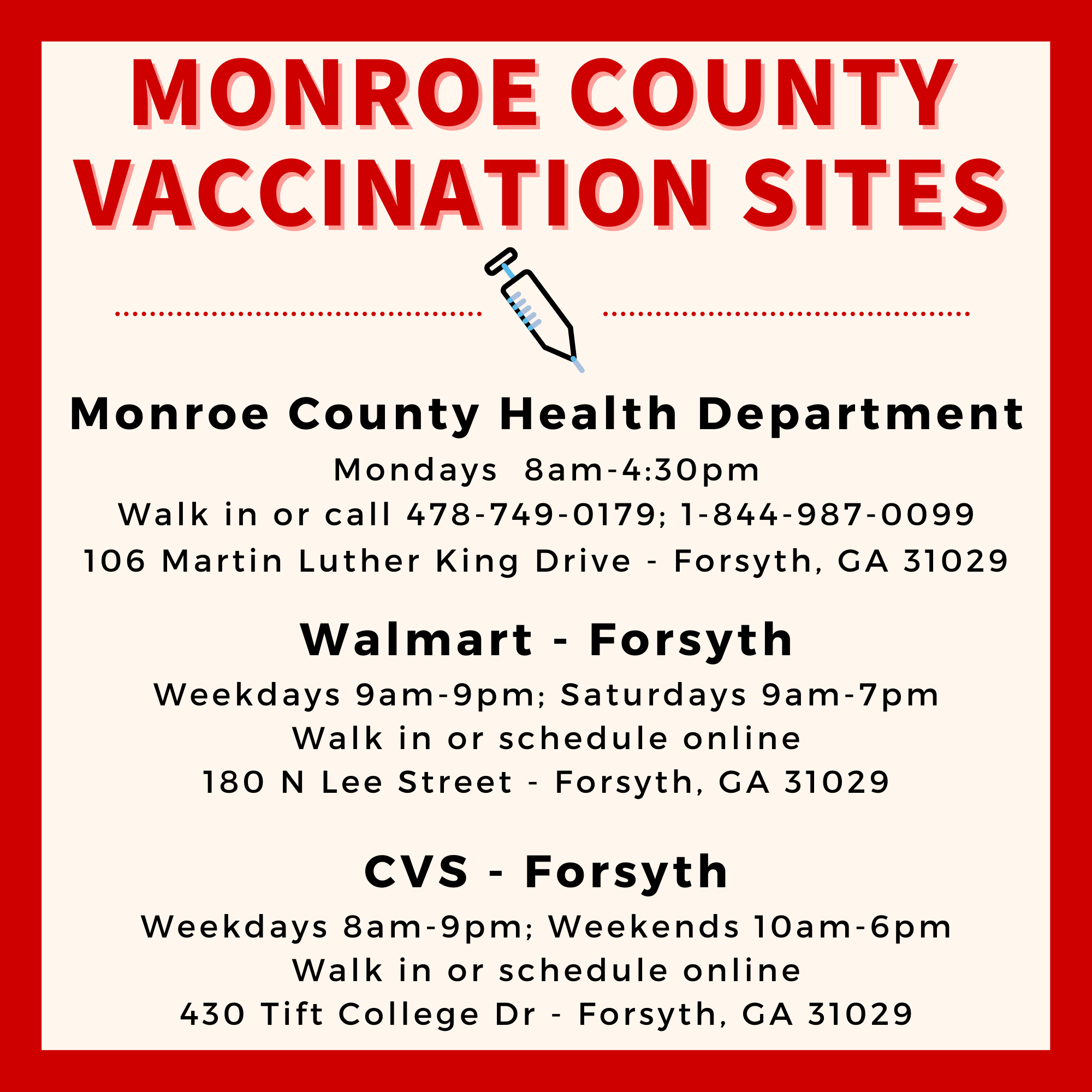 Monroe County Vaccination Sites